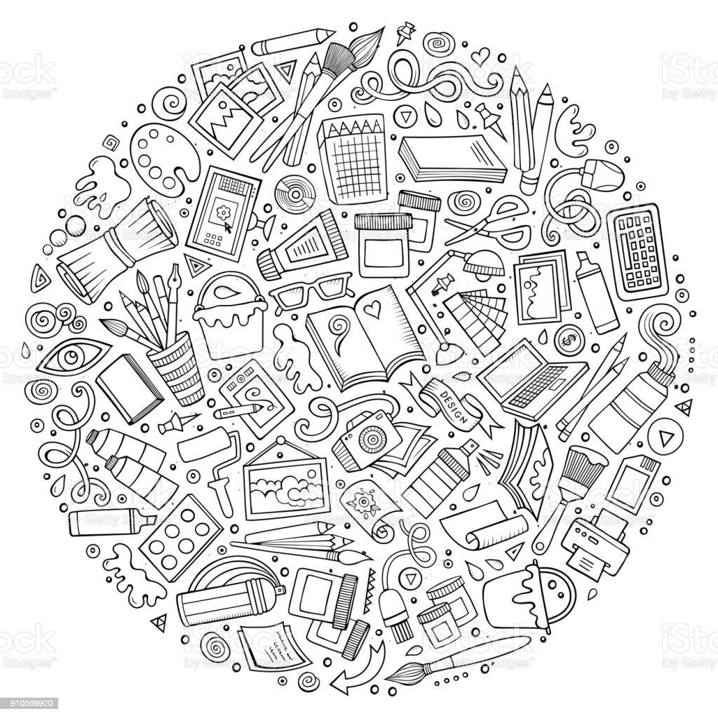 Satz von Designer-Cartoon-Doodle-Objekte, Symbole und Elemente – Vektorgrafik
