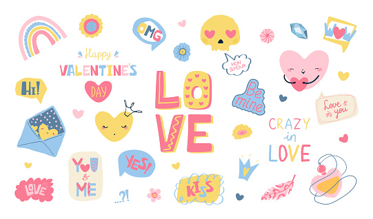Set of designer elements for Valentine's Day in fllet style. Cute colorful speech bubble for greeting card, banner, brochures. Vector illustration