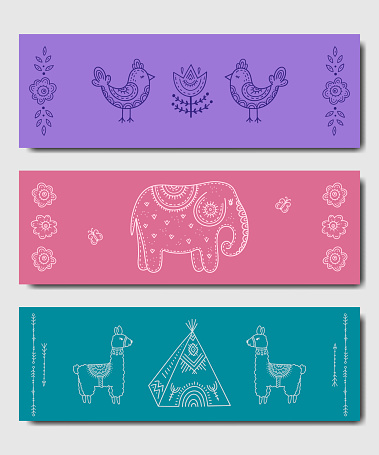 A set of designer yoga mats for children. Bright color pattern with funny animals in the style of kid's drawings-elephant, lama and birds. Business card decor, poster, print, sports equipment.