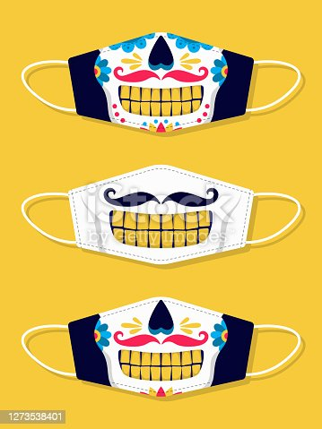 Set of designs face masks with skull. Day of the Dead
