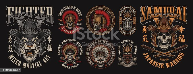 istock Set of designs with skulls in different headgear 1188466417