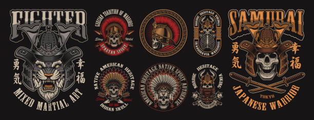 stockillustraties, clipart, cartoons en iconen met set van ontwerpen met schedels in verschillende hoofddeksels - mma