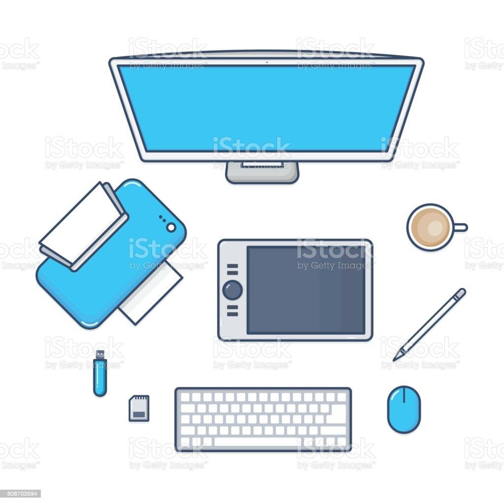 la valeur de la technologie de bureau avec ordinateur imprimante stylo de souris clavier lecteur. Black Bedroom Furniture Sets. Home Design Ideas