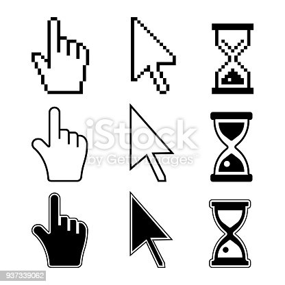 Set of desktop computer mouse icons. Hand and arrow pointers. Hourglass sign