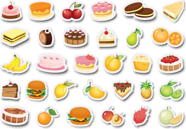 set von dessert und obstaufkleber - pflaumenkuchen stock-grafiken, -clipart, -cartoons und -symbole