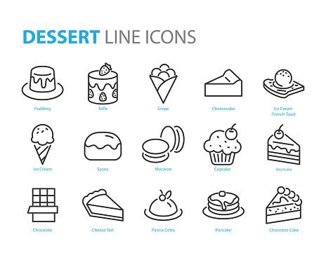 set of dessert icons, such as crepe, sweet, cake, ice cream, scone, choco