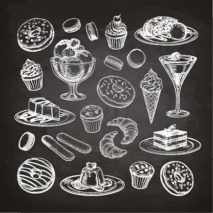 Set of dessert on chalkboard.