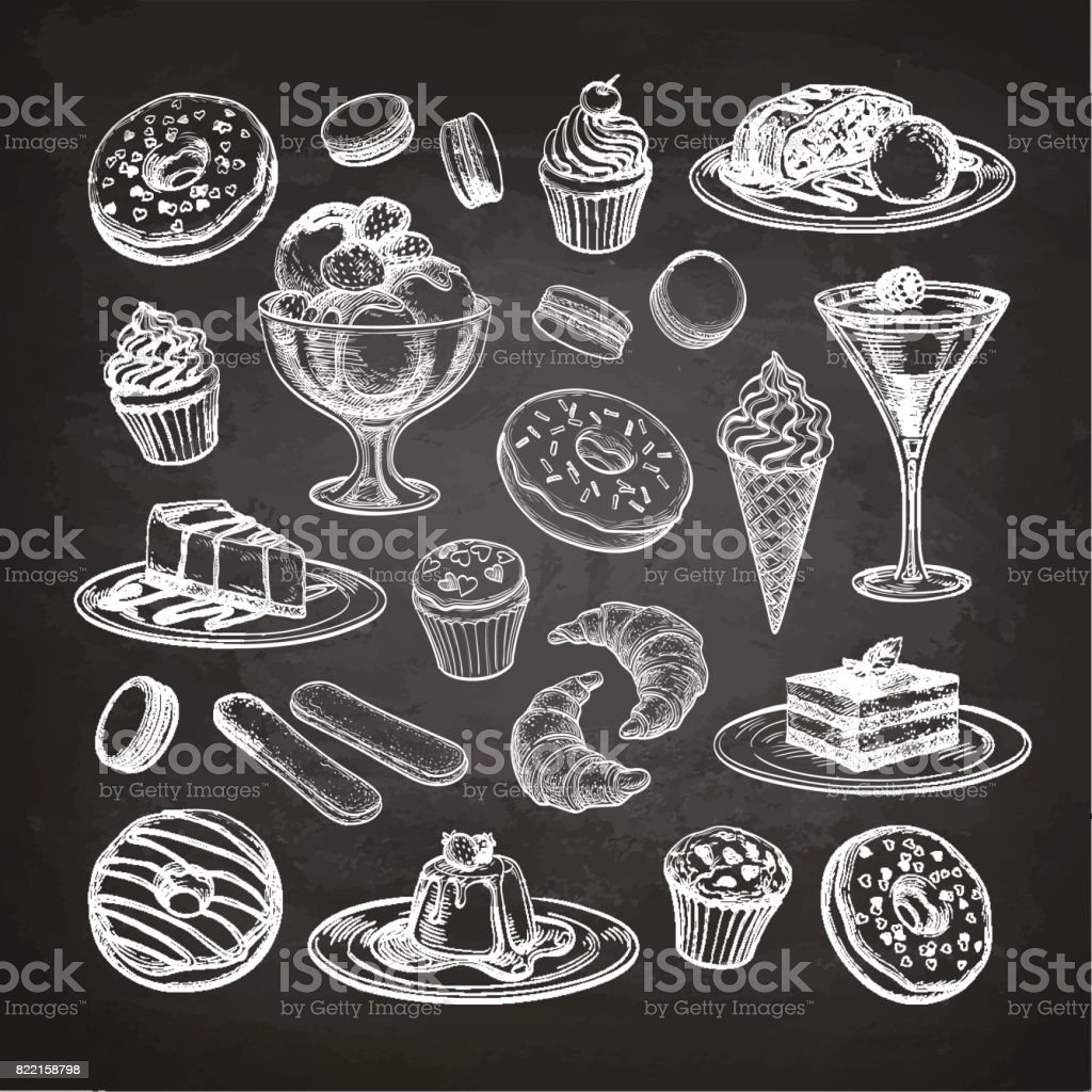 Set of dessert on chalkboard. vector art illustration