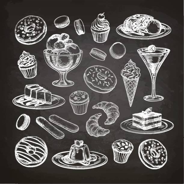 satz von dessert auf tafel. - tiramisu stock-grafiken, -clipart, -cartoons und -symbole