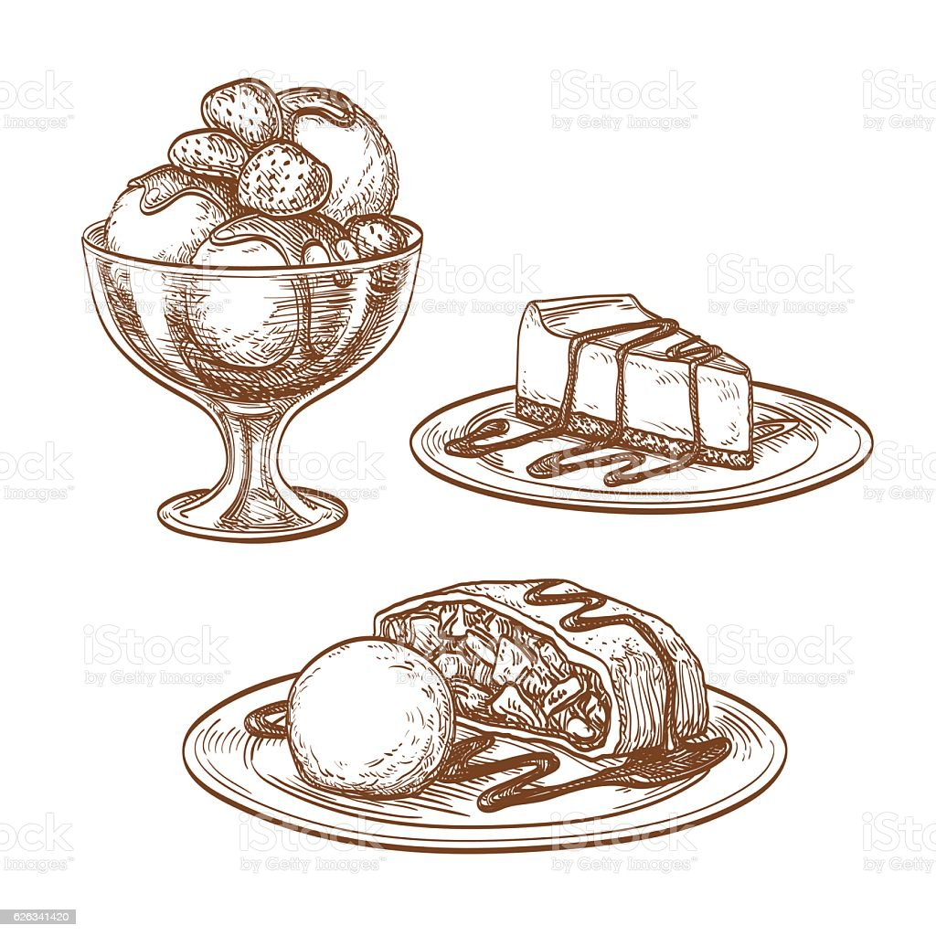 Set of desserts. vector art illustration