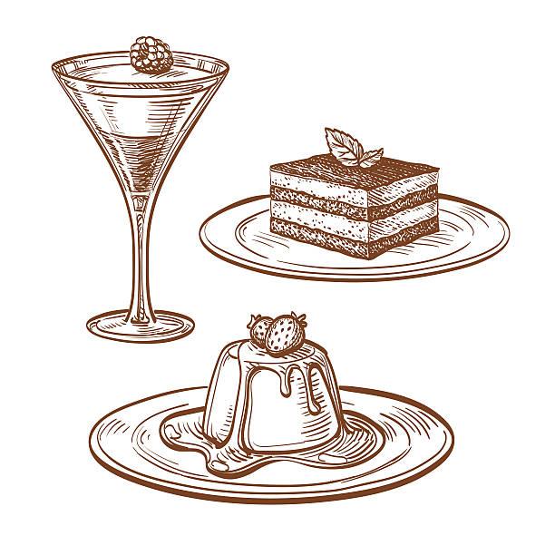 set of desserts. - tiramisu stock-grafiken, -clipart, -cartoons und -symbole