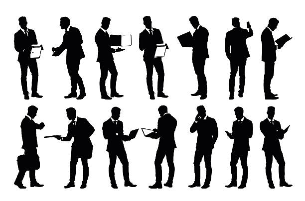 stockillustraties, clipart, cartoons en iconen met set of detailed businessman silhouettes using holding various business objects - business people on computer