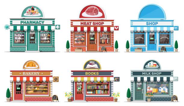 Set von detaillierten Stadt-Shop-Gebäude. – Vektorgrafik
