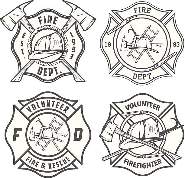 ilustraciones, imágenes clip art, dibujos animados e iconos de stock de juego de programación departamento de bomberos emblems y distintivos - bombero