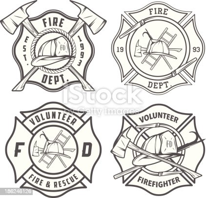 Set Of Detailed Fire Department Emblems And Badges Stock
