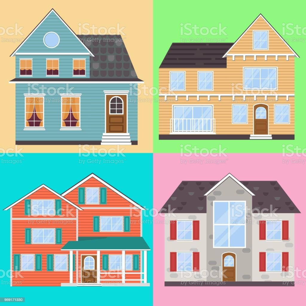 Set of detailed flat style houses modern estate illustration