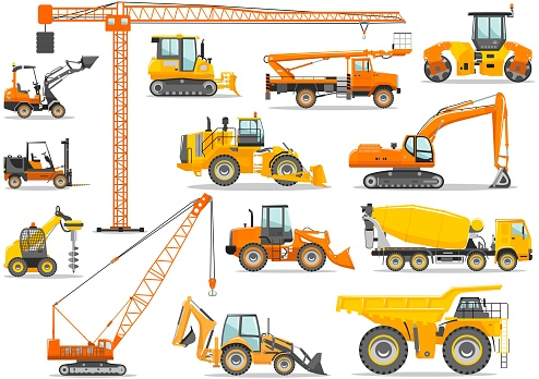 Set of detailed heavy construction and mining machines in flat style on the white background. Building machinery. Special equipment. Vector illustration