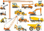 Silhouette illustration of heavy construction equipment and mining machinery. Building machinery and special equipment. Vector illustration.