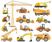 Silhouette illustration of heavy construction equipment and mining machinery. Building machinery. Special equipment.