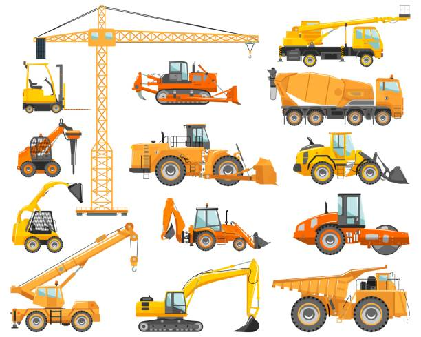 Set of detailed heavy construction and mining machines in flat style on the white background. Building machinery. Special equipment. Vector illustration vector art illustration