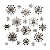 Set of detailed snowflakes isolated on white. Vector illustration.