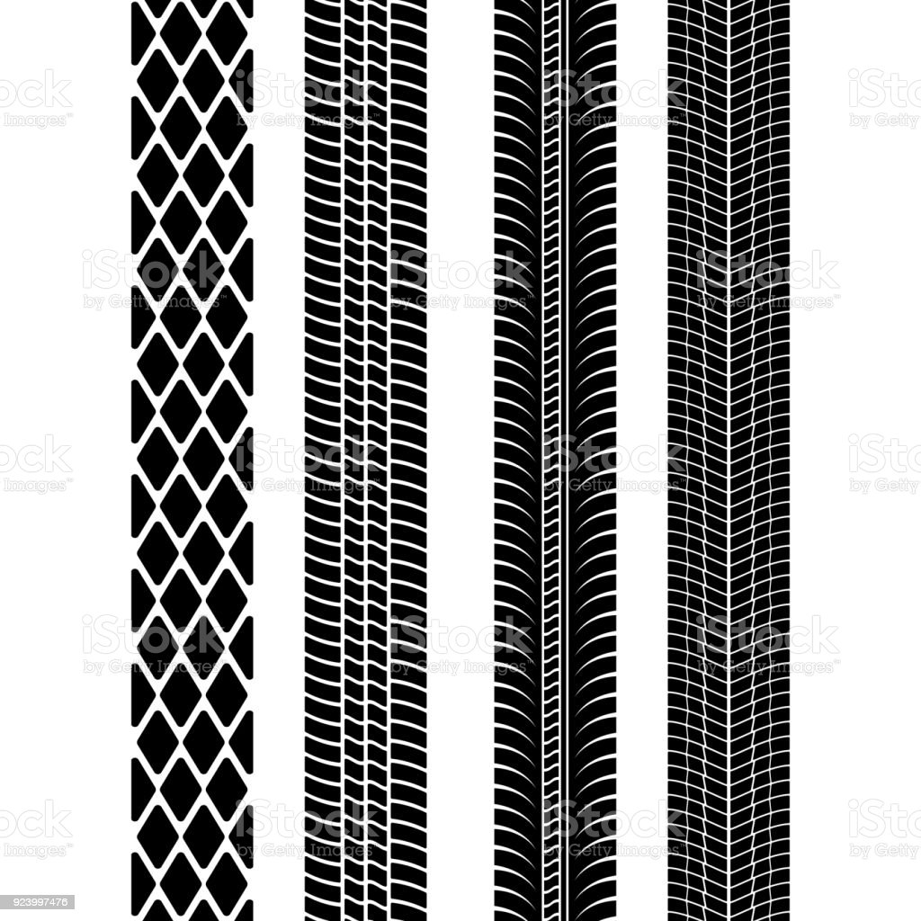 Set of detailed tire prints. Modern tire tread. Tire mark black. Vector illustration vector art illustration