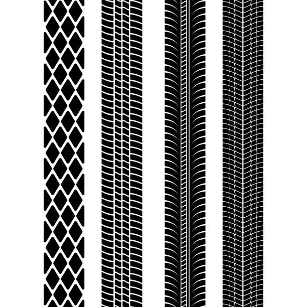 stockillustraties, clipart, cartoons en iconen met set van gedetailleerde band wordt afgedrukt. moderne band loopvlak. band mark zwart. vectorillustratie - bandenspoor