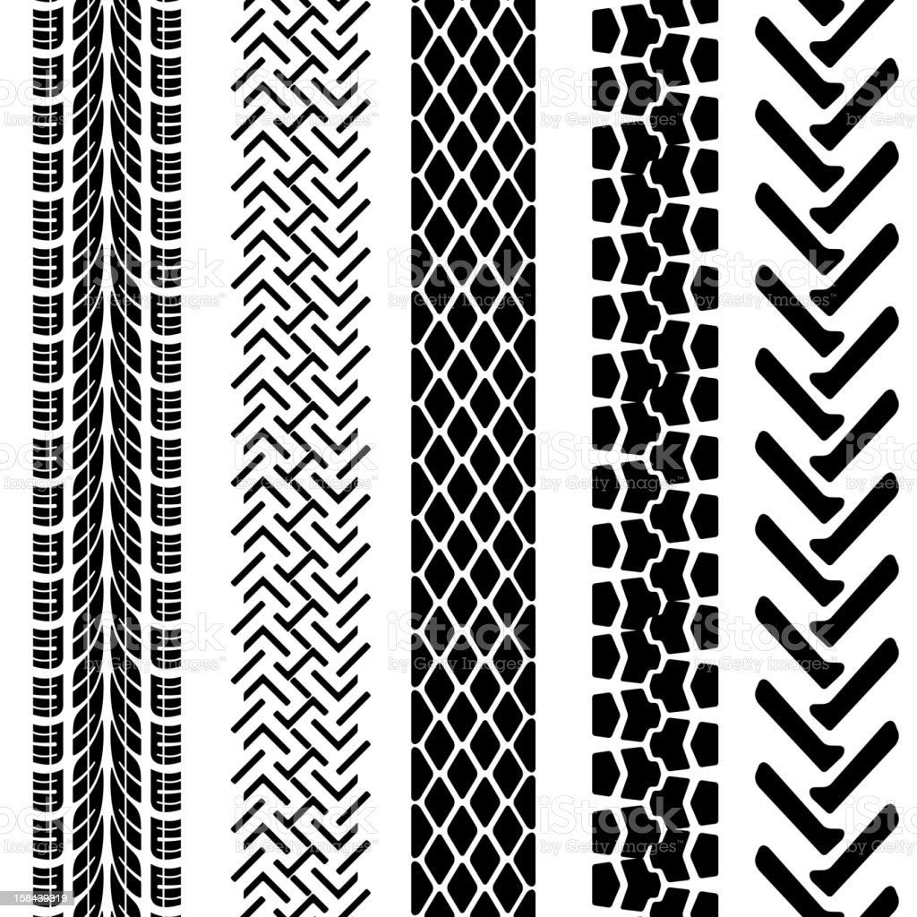 Set of detailed tire prints royalty-free stock vector art