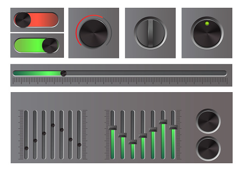 Set of detailed web button