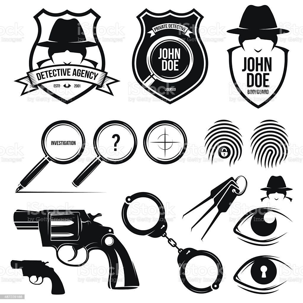 Set of detective agency design elements. vector art illustration