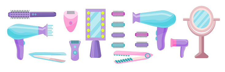 A set of devices for hair styling, depilation.A collection of accessories for self-care.A set of devices for female beauty. Tools for female attractiveness.  Vector illustration in flat style.