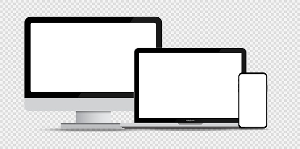 Set of devices. Mockup with set of devices. Mockup template. Computer laptop and phone mockup. Realistic style. Vector graphic. EPS 10