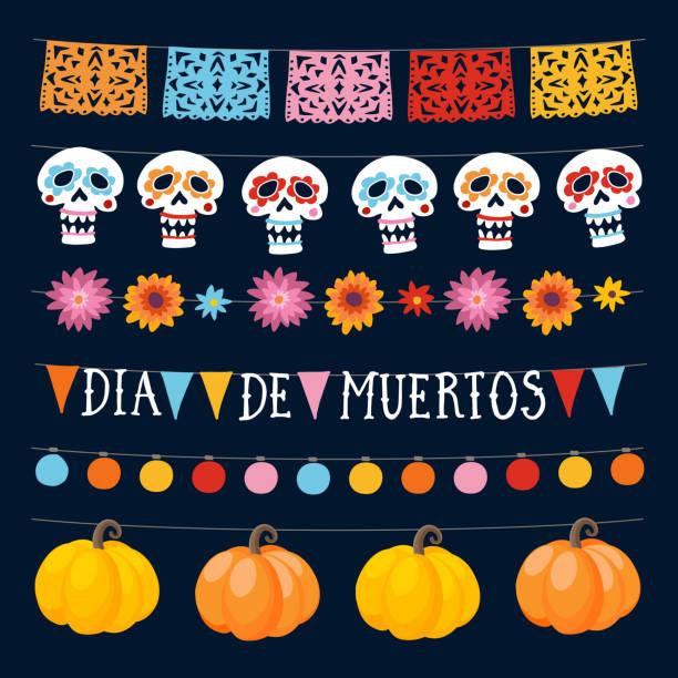 Satz von Dia de Los Muertos, mexikanischen Tag der Toten Girlanden mit Lichtern, Girlanden Fahnen, ornamentale Schädel und Kürbisse. Auflistung der Halloween-Party im Garten-Dekorationen. Isolierte Vektorobjekte. – Vektorgrafik