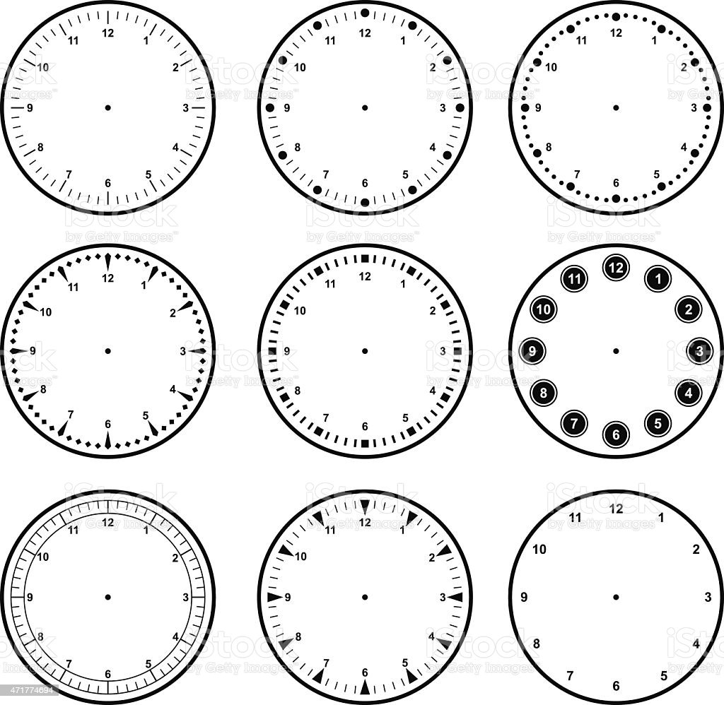 Set of dials with different graduations vector art illustration
