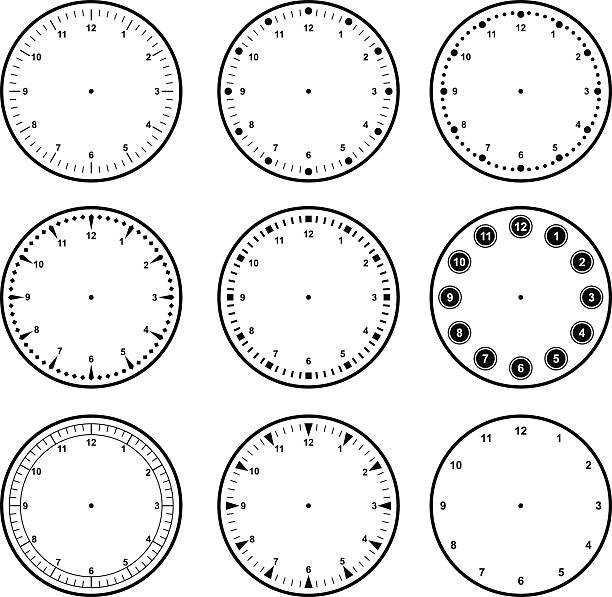 set of dials with different graduations - clock face stock illustrations, clip art, cartoons, & icons