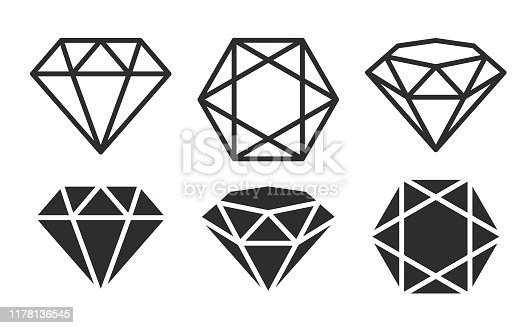 A set of diamonds in a flat style stock illustration