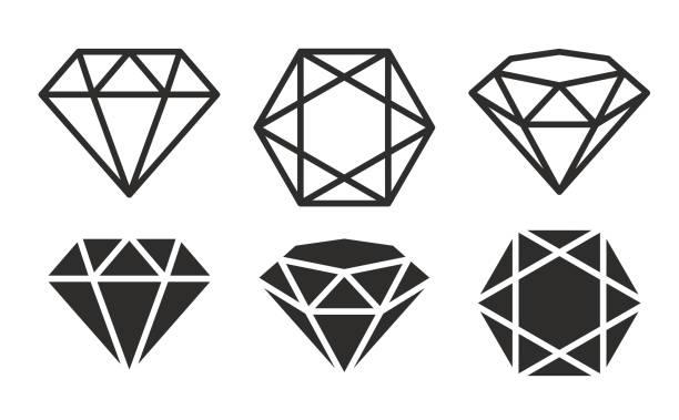 illustrazioni stock, clip art, cartoni animati e icone di tendenza di un set di diamanti in un'illustrazione stock in stile piatto - brillante