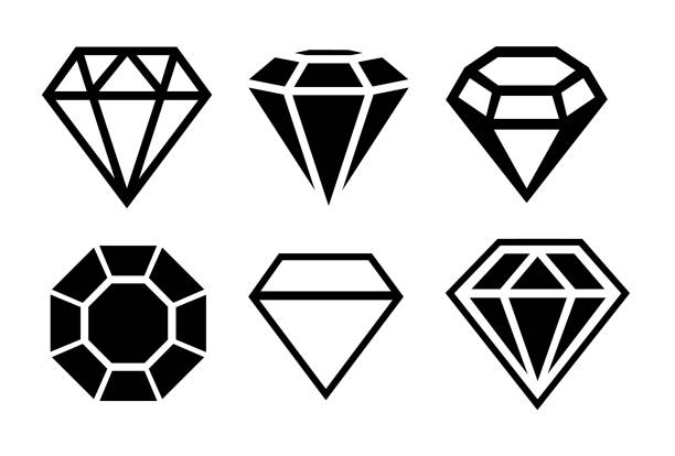 A set of diamonds in a flat style A set of diamonds in a flat style diamond stock illustrations