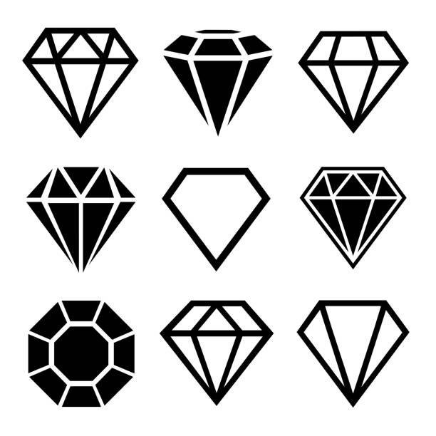 illustrazioni stock, clip art, cartoni animati e icone di tendenza di un set di diamanti in stile piatto - brillante