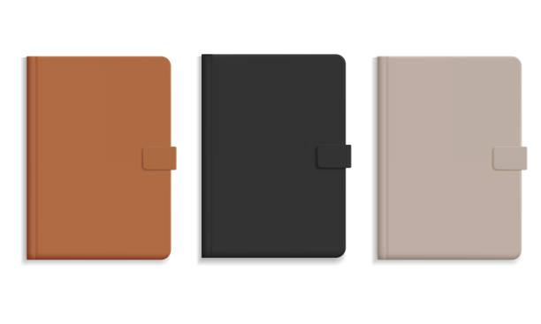 Set of diary or notebook in hard leather cover, black and brown and champagne color - vector Set of diary or notebook in hard leather cover, black and brown and champagne color - vector diary stock illustrations