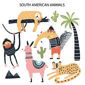 Set of diferent cartoon South American animals. Cute handdrawn kids clip art collection. Vector illustration.