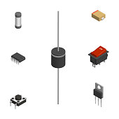 Set of different 3D electronic components, vector illustration.