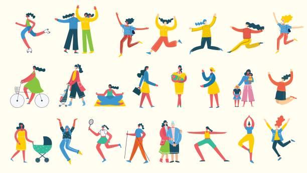 여자의 다른 활동의 집합 - 여성 문제 stock illustrations