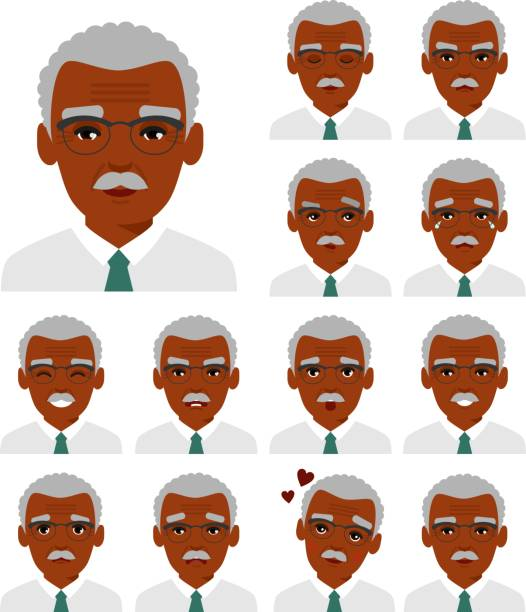 set of different african american avatar old men in colorful flat style. - old man portrait clip art stock illustrations, clip art, cartoons, & icons
