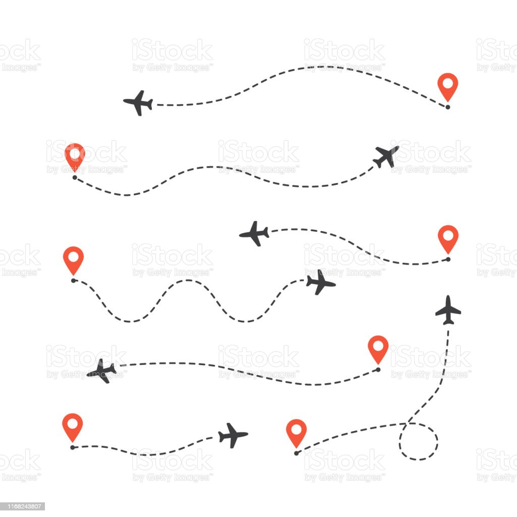 Vector illustration flat design of different airplane routes set....