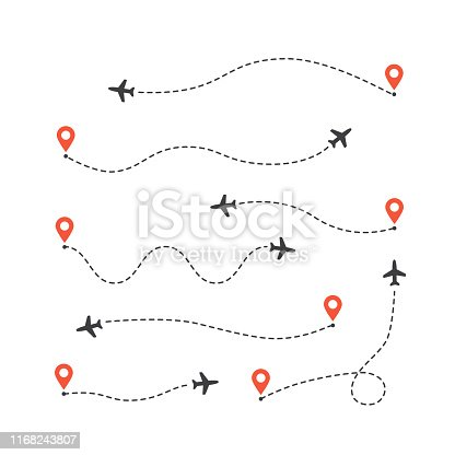 istock Set of different airplane routes. Plane route lines. Aircraft tracking path 1168243807
