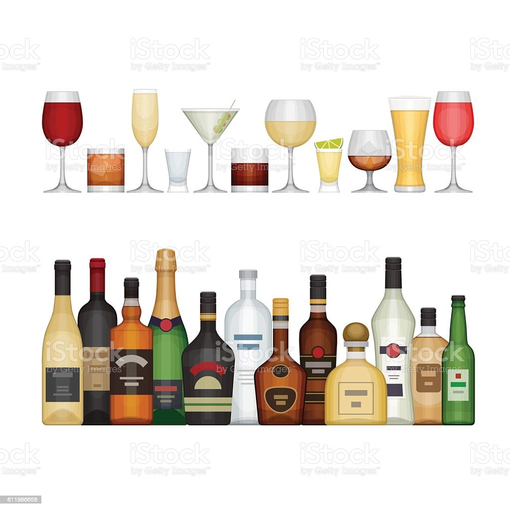 Set of different alcohol bottle and glasses. vector art illustration