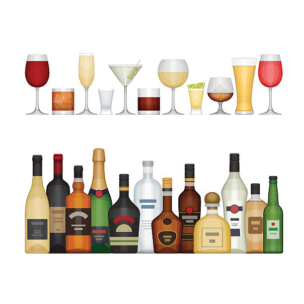 ilustraciones, imágenes clip art, dibujos animados e iconos de stock de set of different alcohol bottle and glasses. - alcohol