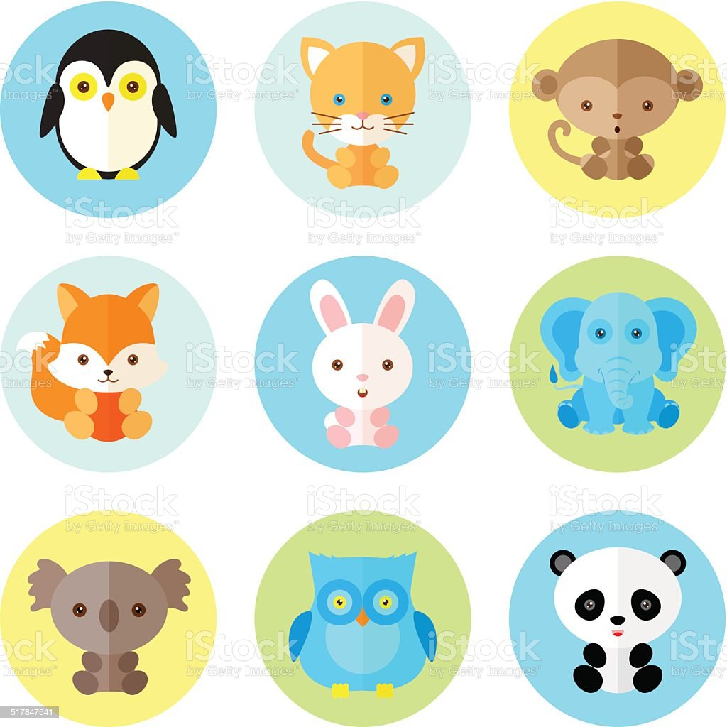 Set of different animals icons. Vector illustration, flat style vector art illustration