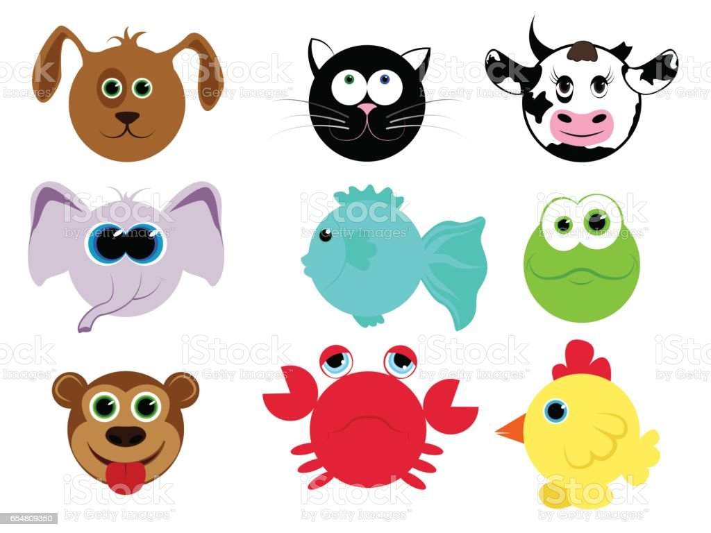 Set Of Different Animals In Cartoon Style Domestic Animals